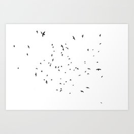 The Black Birds (Black and White) Art Print