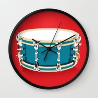 drum Wall Clocks featuring Drum - Red by Ornaart