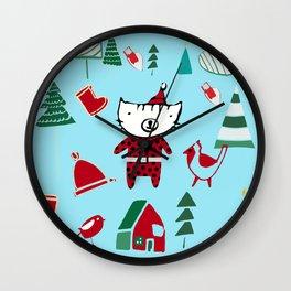 Cute Christmas cat blue Wall Clock
