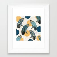 mandie manzano Framed Art Prints featuring Night Owl Polka by Paula Belle Flores