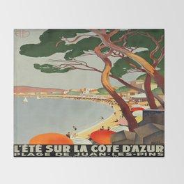 Vintage poster - Cote D'Azur, France Throw Blanket