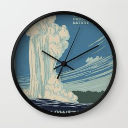 Vintage American WPA Poster - Yellowstone National Park (1938) Wall Clock
