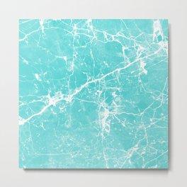 Aqua white modern stylish marble Metal Print
