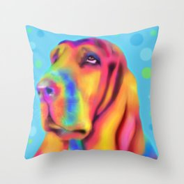 Funky Basset Hound Throw Pillow