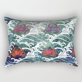 Japanese Red Crabs and Waves Rectangular Pillow