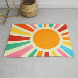 Retro Sun Art: Bauhaus Rainbow Edition Rug