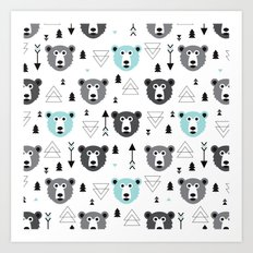 Geometric grizzly bear and arrows Art Print