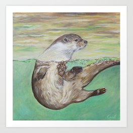 Playful River Otter Painting Art Print