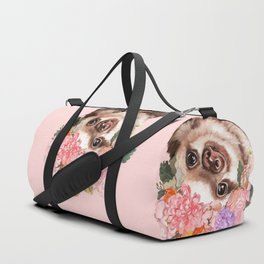 Baby Sloth with Flowers Crown in Pink Duffle Bag