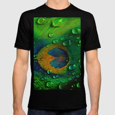 Drops on peacock  (This Artwork is a collaboration with the talented artist Agostino Lo coco) Black Mens Fitted Tee X-LARGE