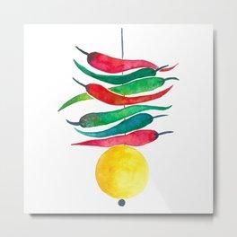 Lemon chilli charm Metal Print