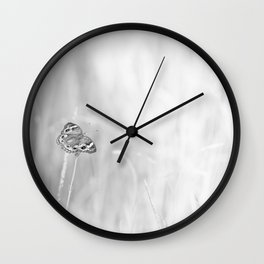 Junonia coenia, Common Buckeye Butterfly Black and White Wall Clock