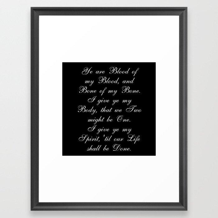Outlander Wedding Vows Framed Art Print by ifreakinlovebooks | Society6