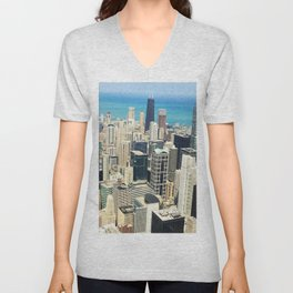 Chicago Buildings Color Photo Unisex V-Neck