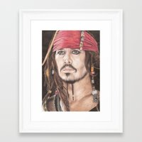 jack sparrow Framed Art Prints featuring Captain Jack Sparrow by JadeJonesArt