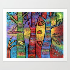 Aspens in an Enchanted Forest with Flying Fish - A Fantastic Journey Art Print