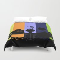 teen titans Duvet Covers featuring Vector Titans by Hybryda