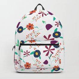 Purple Orange Blue Flower Pattern Backpack