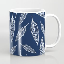 Dark blue and white falling feathers Coffee Mug