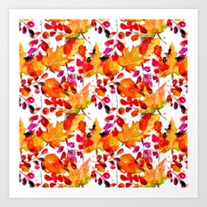 Watercolor autumn leaves Art Print