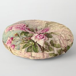 French country chic, rustic, collage, roses,vintage parchment,victorian,belle époque Floor Pillow