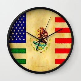 MEXICAN AMERICAN FLAG - 017 Wall Clock