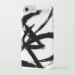 Brushstroke 3 - a simple black and white ink design iPhone Case