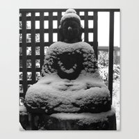 buddah Canvas Prints featuring Snowy Buddah by Nearlycanadian