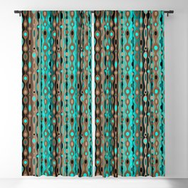 Retro Bohemian Gypsy Beaded Dangles // Vertical Gradient Chocolate Brown, Turquoise, Teal Blackout Curtain