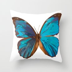 Blue Iridescent Butterfly Painting Throw Pillow