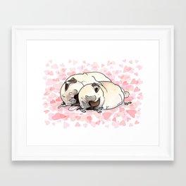 Snuggle Pugs Framed Art Print