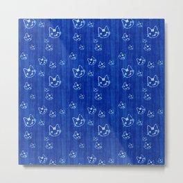 Pattern blue cat Metal Print
