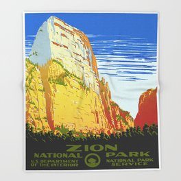 Zion National Park - Vintage Travel Throw Blanket