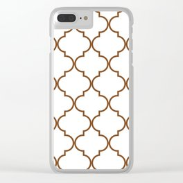 Quatrefoil - Tawny Brown Clear iPhone Case