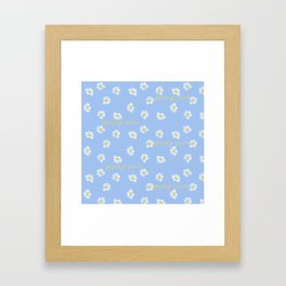 Spring rain with daisies and yellow gold typography script Framed Art Print