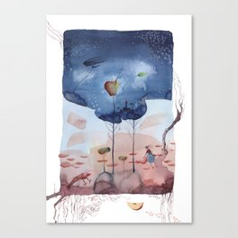 There is an apple tree in the woods - Watercolor Fantasy Canvas Print
