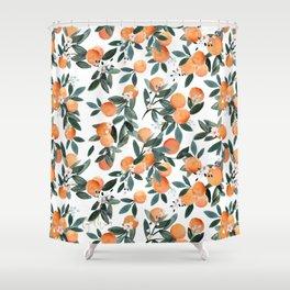 Dear Clementine - oranges on white Shower Curtain