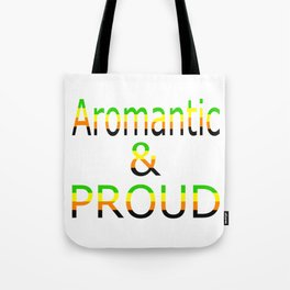 Aromantic and Proud (white bg) Tote Bag