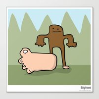 bigfoot Canvas Prints featuring Bigfoot by Masonic Comics
