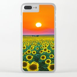 Sunflower Haze Clear iPhone Case