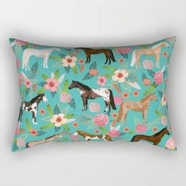 Horses floral horse breeds farm animal pets Rectangular Pillow