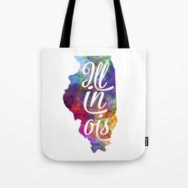 Illinois US State in watercolor text cut out Tote Bag