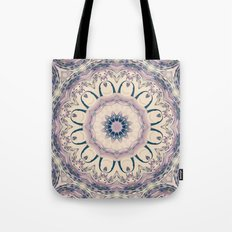 Rue des Glycines -- Vintage Cream and Lavender Purple Mandala Tote Bag