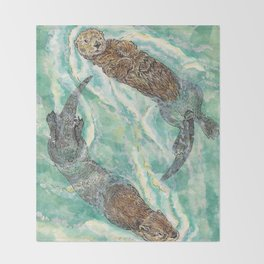 Two Otters Throw Blanket
