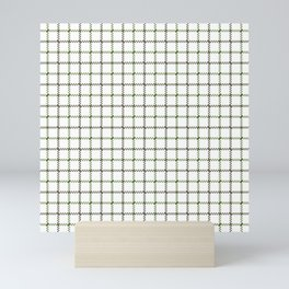 Fern Green & Sludge Grey Tattersall on White Background Mini Art Print