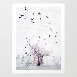 Axis Mundi in Color With Crows Art Print