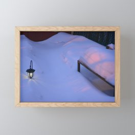 The lantern in the snow, Montreal, Canada Framed Mini Art Print