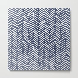 Boho Herringbone Pattern, Navy Blue and White Metal Print