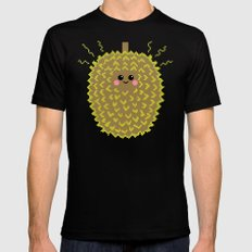 Happy Pixel Durian LARGE Black Mens Fitted Tee