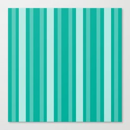 Aqua Victorian Lady Stripe Canvas Print